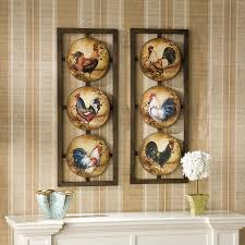Rooster Chicken Kitchen Decor Metal Rooster Wall Art 2 Panel Wall Decor Pictures Chickens