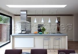 breakfast bar with pendant lights and extractor in london kitchen extension uk breakfast bar lighting