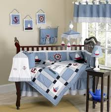 bedroom nautical themed blue baby crib bedding set and nautical themed decorative wall hanging plus baby boys furniture white bed wooden