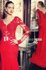 <b>Sexy Red</b> Long Sleeve <b>Mermaid Prom</b> Dress With Lace Appliques ...