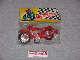 1970s Vintage Dime Store <b>Plastic Toy Motorcycle</b> RED Sealed in ...