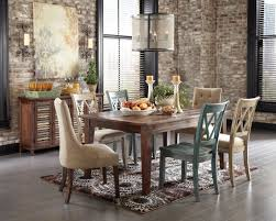 room simple dining sets: fascinate rectangle glass dining table with chrome metal base and astounding room ideas displaying rustic brick