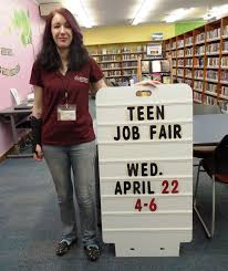 library lineup teen job fair set for library seeking local teen librarian alison schwartz promoting the library s teen job fair