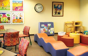 the waiting area for the fifth floor of the sarah and john graves center which child friendly furniture