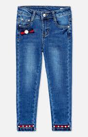 <b>Брюки</b> текстильные джинсовые для девочек <b>PlayToday</b> 392173