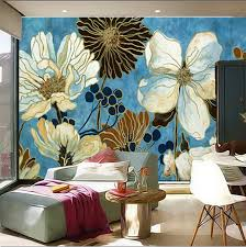 The custom <b>3D</b> murals,Blue <b>small fresh</b> blooming <b>chrysanthemum</b> ...