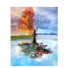 Four Seasons Tree Landscape <b>DIY Painting By</b> Numbers Adult ...