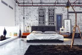 house design stylish industrial home interior design idea for bedroom with black bed frame with white bed sheet white brick wall and black fur rug alluring alluring home bedroom design ideas black