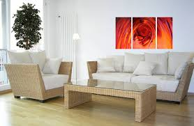 decoration small zen living room design: small corner floor lamp near wicker zen living room seating area with white sofa pads also