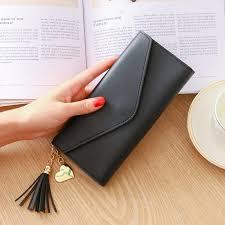 AMOG <b>Korean Fashion</b> PU Leather Heart Pendant Tassel Long ...