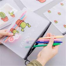 <b>Cactus PVC Waterproof</b> Pencil Cases Transparent Stationery A5 ...