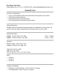 Basketball Coach Resume Template