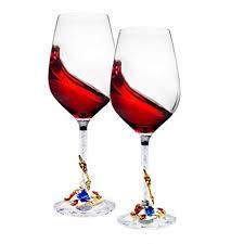 D&Z Crystal Wine Glasses Set of 2 - Unbreakable ... - Amazon.com
