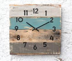rustic beach house decor coastal theme reclaimed wood clock soft teal in stock ready to ship beach theme furniture 1000