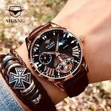 2019 luxury business hollow automatic mechanical self wind watch men black leather wrist watches transparent skeleton for dad