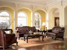 Button Couch Victoria Traditional Brown Genuine Leather Tufted Sofa Loveseat