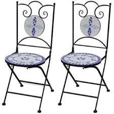 Shop vidaXL Folding <b>Bistro Chairs 2 pcs</b> Ceramic Blue and White ...