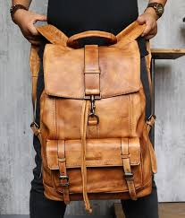 Luxury <b>Cow</b> Leather Large Capacity Backpack <b>Travel Bag Men's</b> ...
