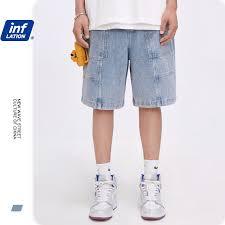 INFLATION <b>Loose Fit</b> Mens Denim Shorts In Light <b>Tinted</b> Wash Blue ...