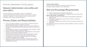 administrator job description resume com it job descriptions network administrator job profile and description