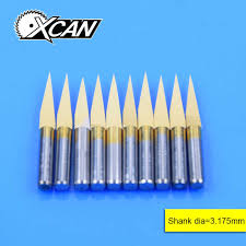 XCAN <b>10pcs</b>/lot <b>V Shape</b> flat bottom <b>Carbide</b> PCB Engraving Bits ...