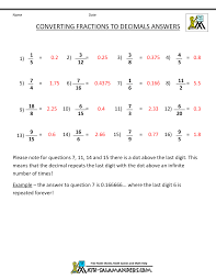 Convert Fractions to DecimalConvert Fractions to Decimal Sheet · Answer Sheet
