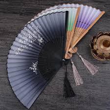 <b>1Pcs Chinese</b> Spun Silk Flower Vintage Printing Hand Fan Folding ...
