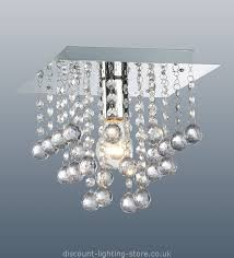 palazzo polished chrome square light with acrylic droplets 1 light cheap ceiling lighting