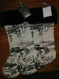 "Toile Print Holiday Stocking 20"" Black/White <b>Faux Fur Xmas</b> Threshold"