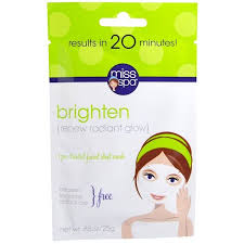 Miss Spa, Brighten, <b>1 Pre</b>-<b>Treated</b> Facial Sheet Mask, <b>1</b> Mask - Buy ...