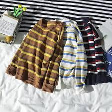 AWD2018 <b>autumn</b> Korean version of the <b>loose</b> stripe long-sleeved ...