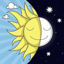 <b>Cute Day And Night</b> Illustration With Smiling Sun And Moon Royalty ...