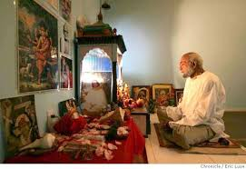Image result for images of performing puja by man in puja room in house