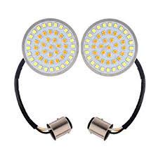 "Pair <b>2</b>"" <b>Bullet</b> Style <b>1157</b> White&Amber <b>LED</b> Rear Turn Signal Light ..."