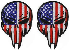 Armycrew USA Flag <b>Punisher Skull</b> Iron On <b>Embroidered Patch</b> 2 Pack