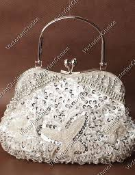Victorian Antique <b>Silver</b> Beaded Sequin <b>Evening Bag</b> Wedding <b>Party</b> ...