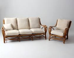 vintage rattan furniture set couch and chair bamboo with cushions bamboo furniture