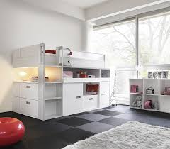 View In Gallery Stylish Top Bunk Bed With Storage And Workdesk Underneath White For The Trendy Kidsu002639  Decoist