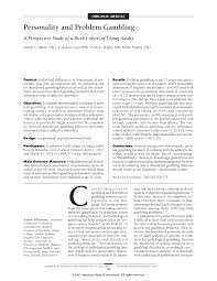 personality and problem gambling psychiatry jama psychiatry first page pdf preview