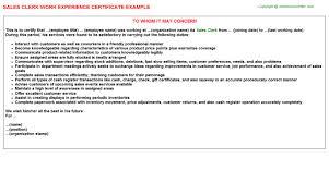Clerk Job Title Sales Clerk Work Experience Letter