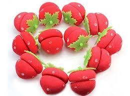 <b>12pcs Soft</b> Sponge Cute Strawberry Style <b>Hair</b> Curler Balls