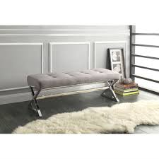 x contemporary bedroom benches: modern living room metal bench with button tufted grey linen seat hmbg designed