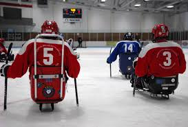 u s department of defense photo essay veterans participating in a game of sled hockey prepare for the start of the game at