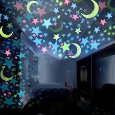 <b>100PC Kids Bedroom</b> Fluorescent Glow In The Dark Stars Moons ...