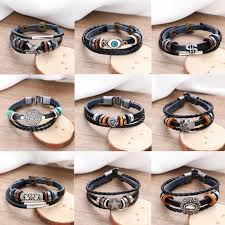 Fashionable <b>Punk</b> 12 Horoscope <b>Leather Bracelet</b> Men Jewelry ...