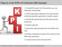 restaurant shift manager kpi