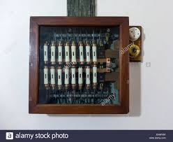 early th century electrical fuse box wooden a glass front early 20th century electrical fuse box wooden a glass front in a large house