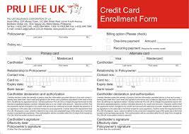 pruaccess credit card enrollment form front