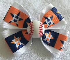 "Girls Hair <b>Bow</b> 4"" Wide Houston Astros Blue Orange White <b>Flatback</b> ..."
