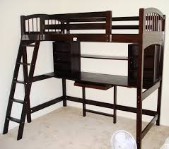 dark brown stained oak wood loft bunk bed with curved side panel and ladded built in bunk bed office space
